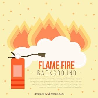 フラットデザインの消火器の背景と炎