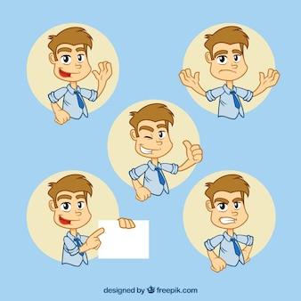 幻想的な表情を持つビジネスマンの文字のグレートパック