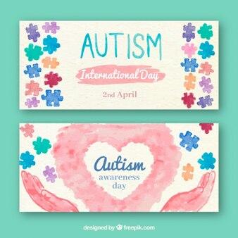 Аутизм день акварель баннеры