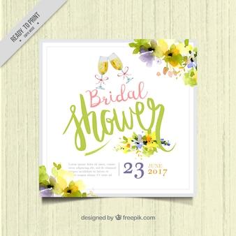 水彩花とかわいい独身招待状テンプレート