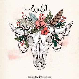 頭蓋骨と花飾りのついた民族的背景