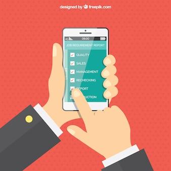 携帯電話を使って手で点線の背景