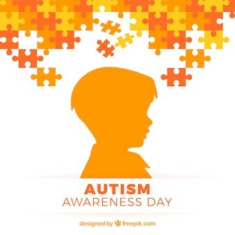 Аутизм день фон с ребенком силуэт