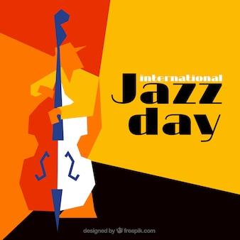 ジャズミュージシャンとのカラフルな多角形の背景