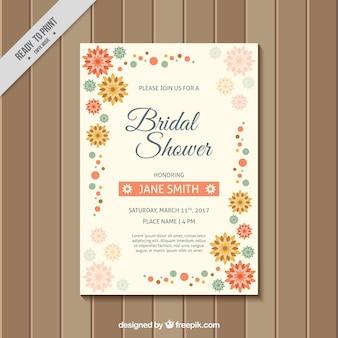 フラットな花とブライダルシャワーの招待状