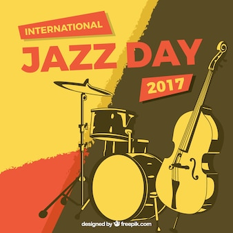 ジャズ楽器とヴィンテージ抽象的な背景