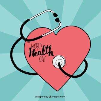 Сердце фон со стетоскопом