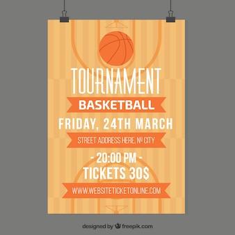 フラットデザインのバスケットボールコートのポスター
