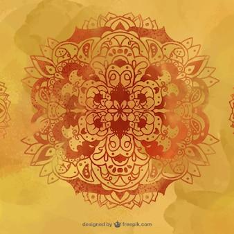 花のスケッチと抽象的な水彩画の背景