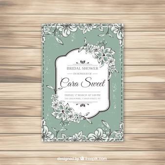 緑と白の花嫁のシャワーの招待状