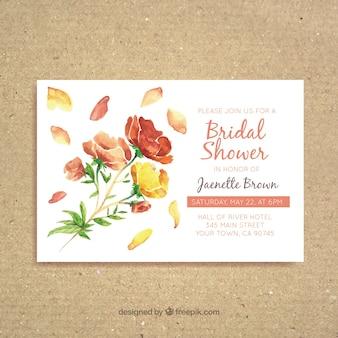 きれいな花を水彩ブライダルシャワーの招待状