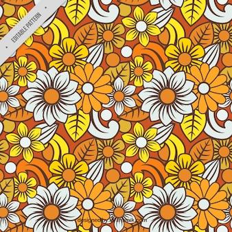 カラフルな花のバティックパターン