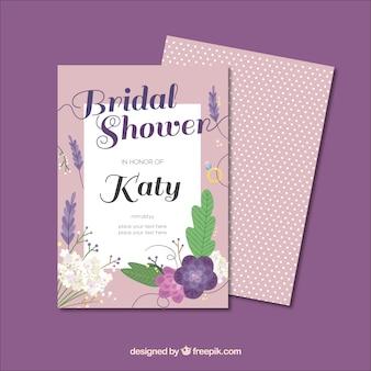 フラットなデザインの花とブライダルシャワーの招待状テンプレート