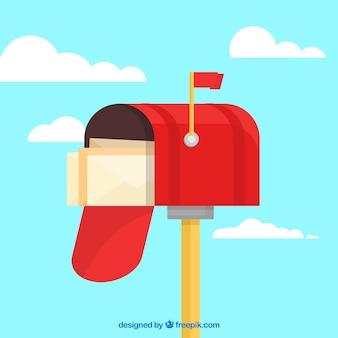 Красный фон почтовый ящик с конвертами