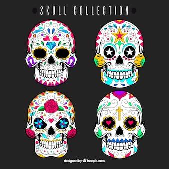 メキシコの装飾的な頭蓋骨のセット
