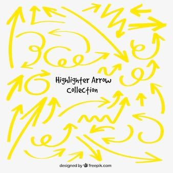 黄色いマーカーの矢印のコレクション