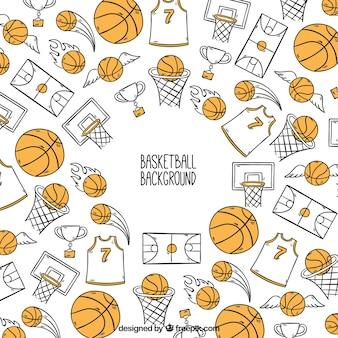 手描きのバスケットボールアクセサリーの背景