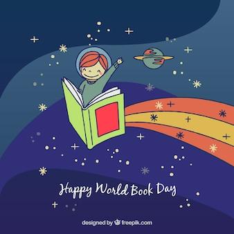 Фон мировой книжной день с ребенком