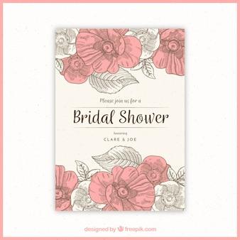 ヴィンテージスタイルで花ブライダルシャワーの招待状