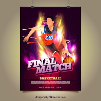 明るいバスケットボール選手のポスター