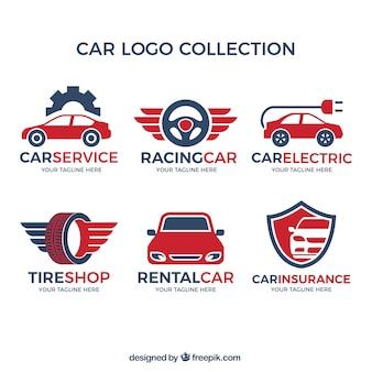 赤い細部が付いている車のロゴの様々な