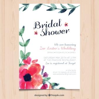 花の飾りのついた水彩独身招待
