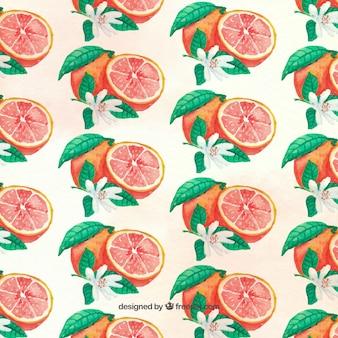 水彩で描かグレープフルーツパターン