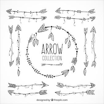 民族の手描かれた矢印のバラエティ