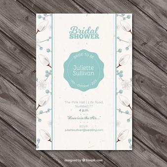 現実的なデザインの花ブライダルシャワーの招待状