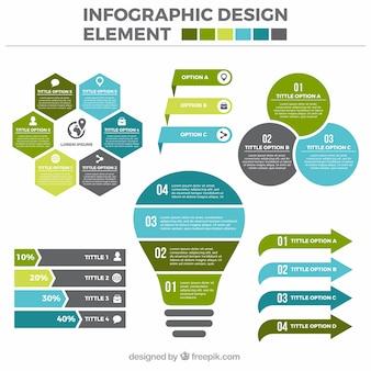フラットデザインで有用なインフォグラフィック要素のセット