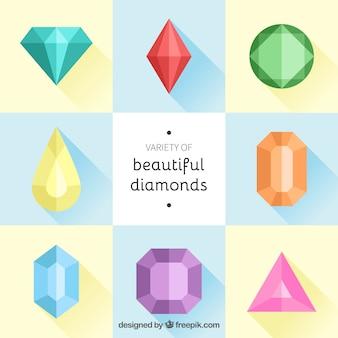 Коллекция цветных бриллиантов в плоском дизайне
