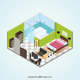 アイソメトリックデザインのアパートインテリア