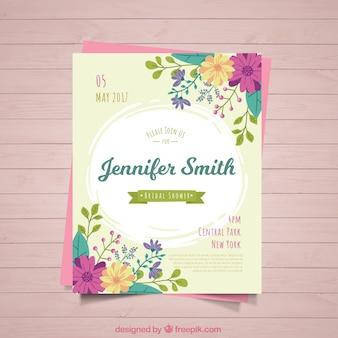 色の花とかわいいブライダルシャワーの招待状