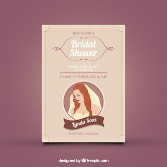 花嫁のエレガントなブライダルシャワーの招待状