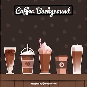 Большой фон с различными видами кофе