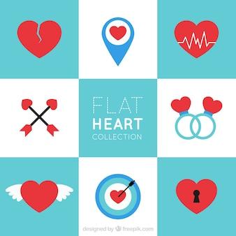 Коллекция сердец в плоском дизайне