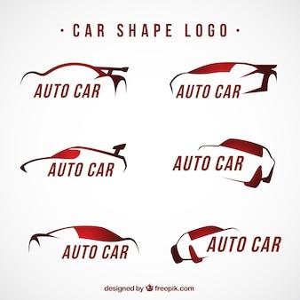 赤の色調に大きな車のロゴ