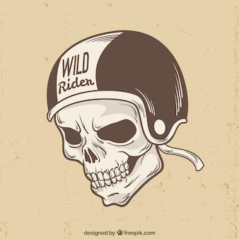 ライダーのヘルメットの背景とスカル