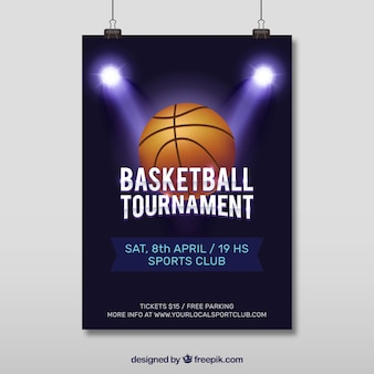 スポットライトとバスケットボールポスター