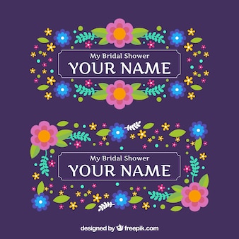 フラットデザインの色の花を持つ偉大な結婚式のフレーム
