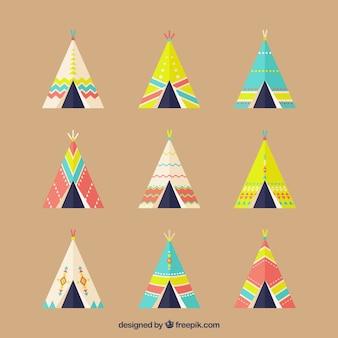 Плоский пакет из девяти этнических палатки