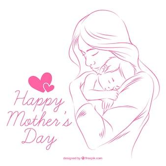 手の背景には、赤ちゃんと母親を描か
