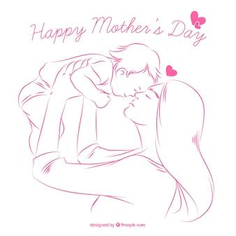 Фон эскиз счастливой матери с ребенком