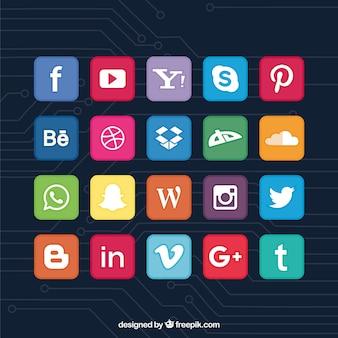 カラフルなソーシャルネットワークのアイコンのコレクション