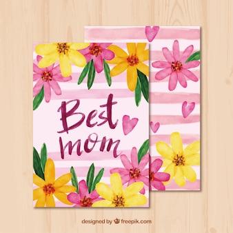 Открытка с цветочной матерью в акварельном стиле