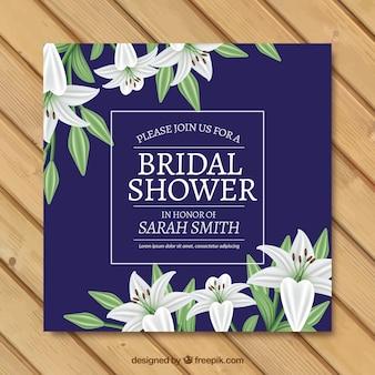 きれいな花の現実的なブライダルシャワーの招待状