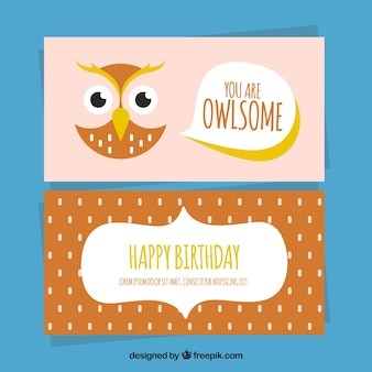 誕生日のためのフラットデザインのフクロウカード