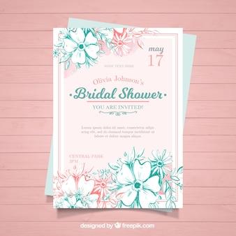 ピンクとブルーの花と水彩独身招待