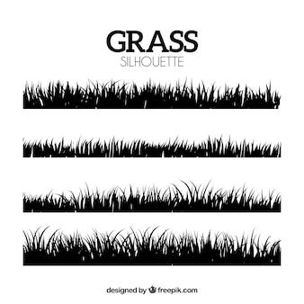 草の国境の装飾的なシルエット