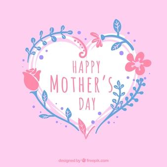 День матери фон с сердцем и голубой и розовой растительностью